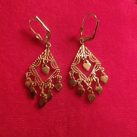 14K gold triangle chandelier earrings